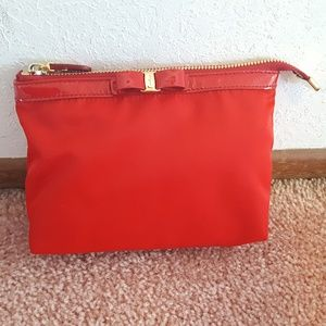 NWT Authentic Ferragamo Red Leather Nylon Pouch